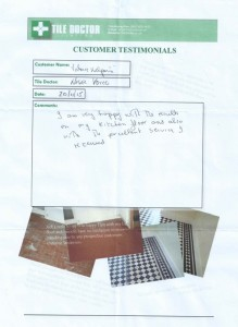 I am very happy with the results of my kitchen floor and also with the excellent service I received.