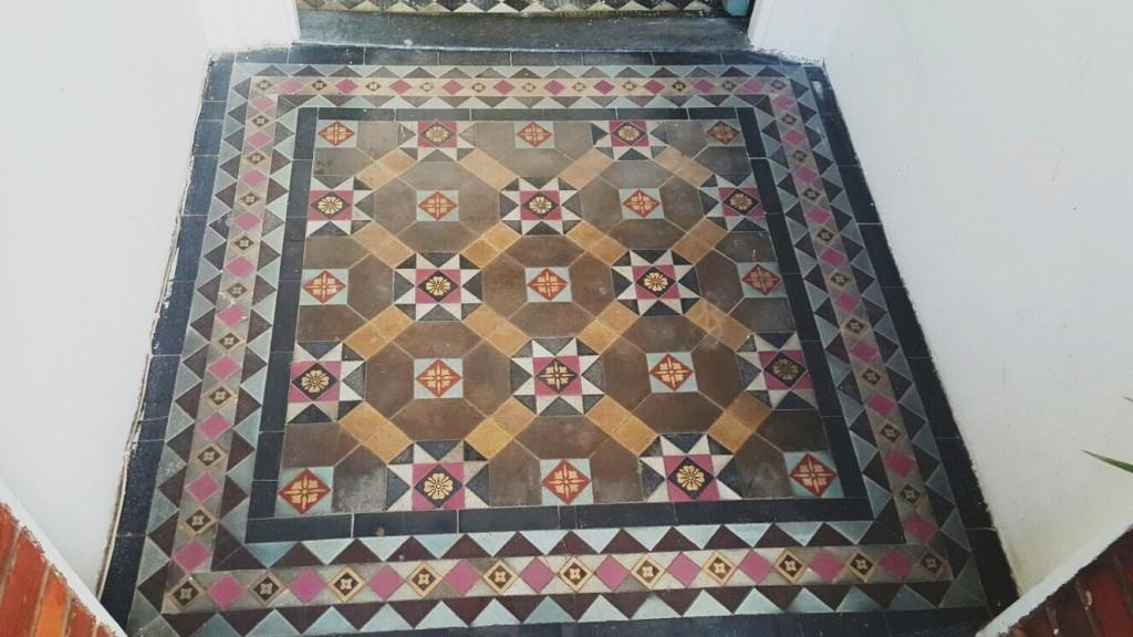 Victorian Tiled Entrance Before Cleaning Swiss Cottage