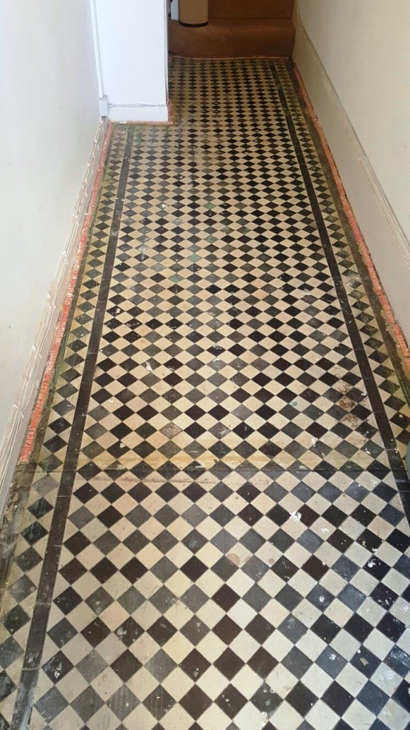 Victorian Tiled Hallway Before Restoration Swiss Cottage