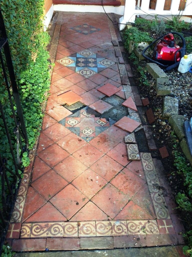 Victorian Tiled Path Restored In North London Cleaning