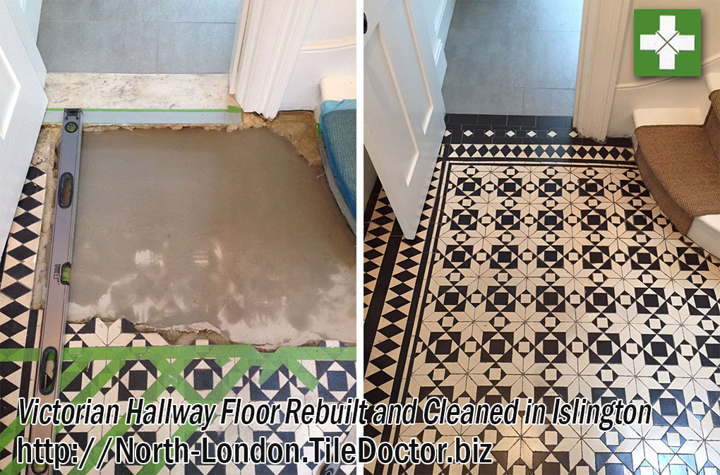 Victorian floor tiles before and after rebuild in Islington