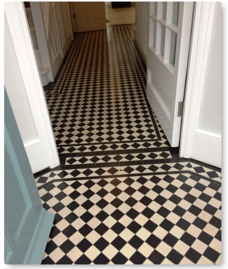 Edwardian Hallway Floor After Tile Cleaning Islington