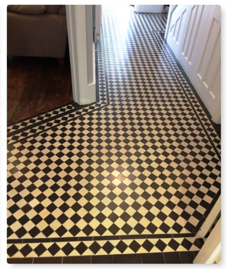 Edwardian Hallway Floor After Tile Cleaning Islington