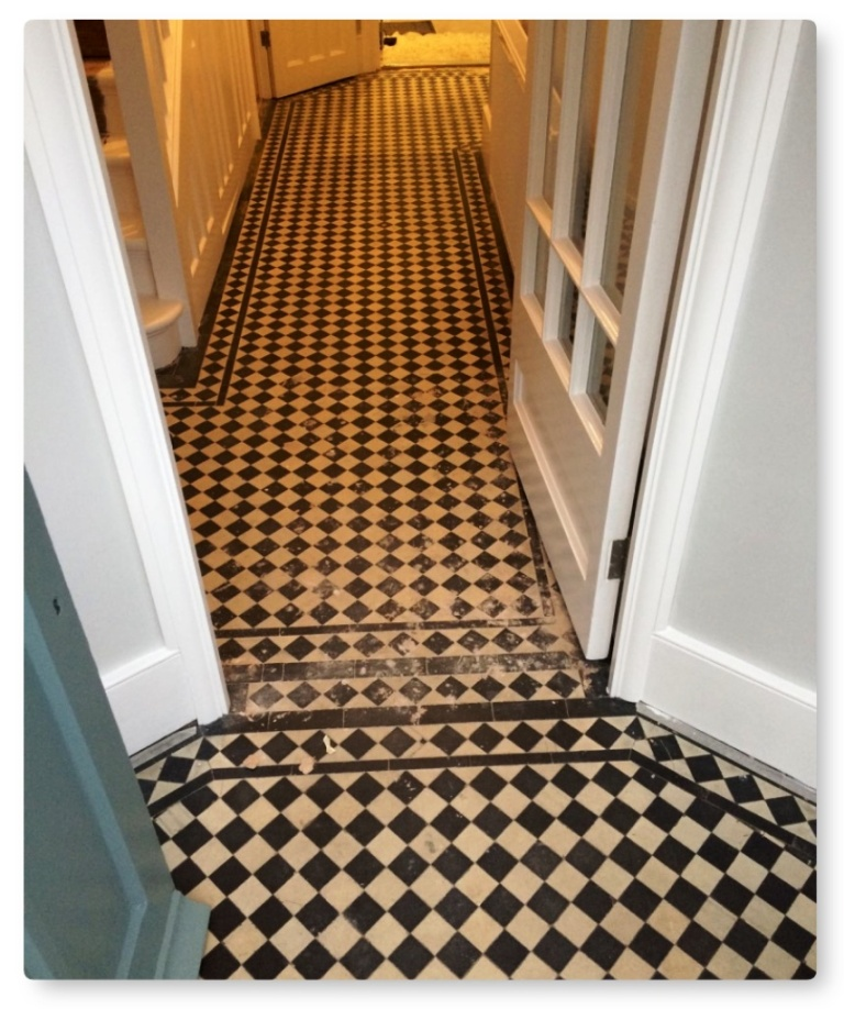 Edwardian Hallway Floor Before Tile Cleaning Islington