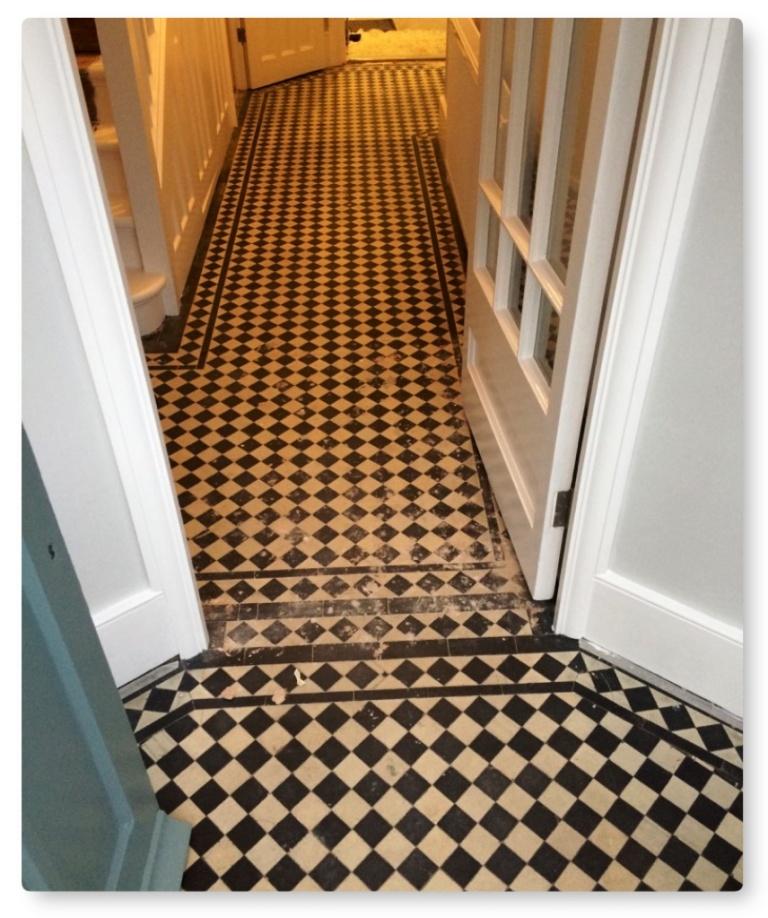 Edwardian Hallway Floor Before Tile Cleaning Islington
