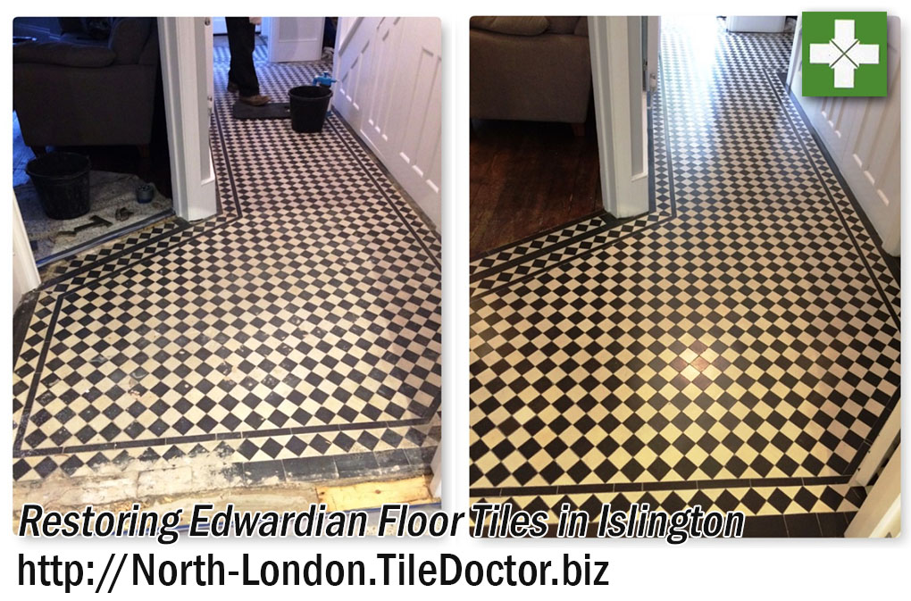 Edwardian Tiled Hallway Before and After Restoration in Islington