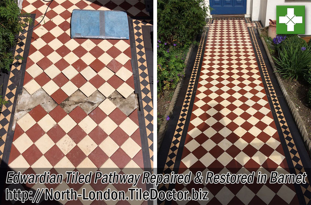 Edwardian Tiled Pathway Before and After Restoration in Barnet