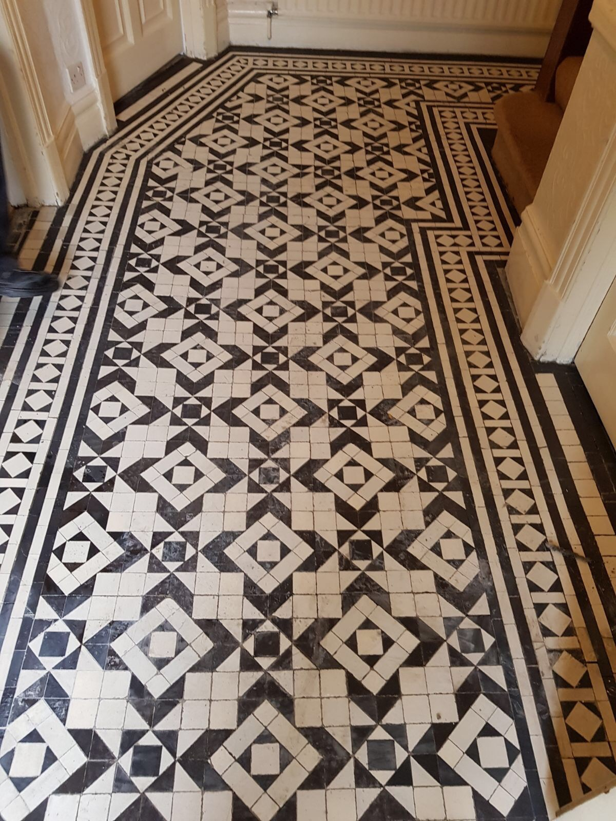 Victorian Hallway Floor Tiles Regrouting in Woodford Green