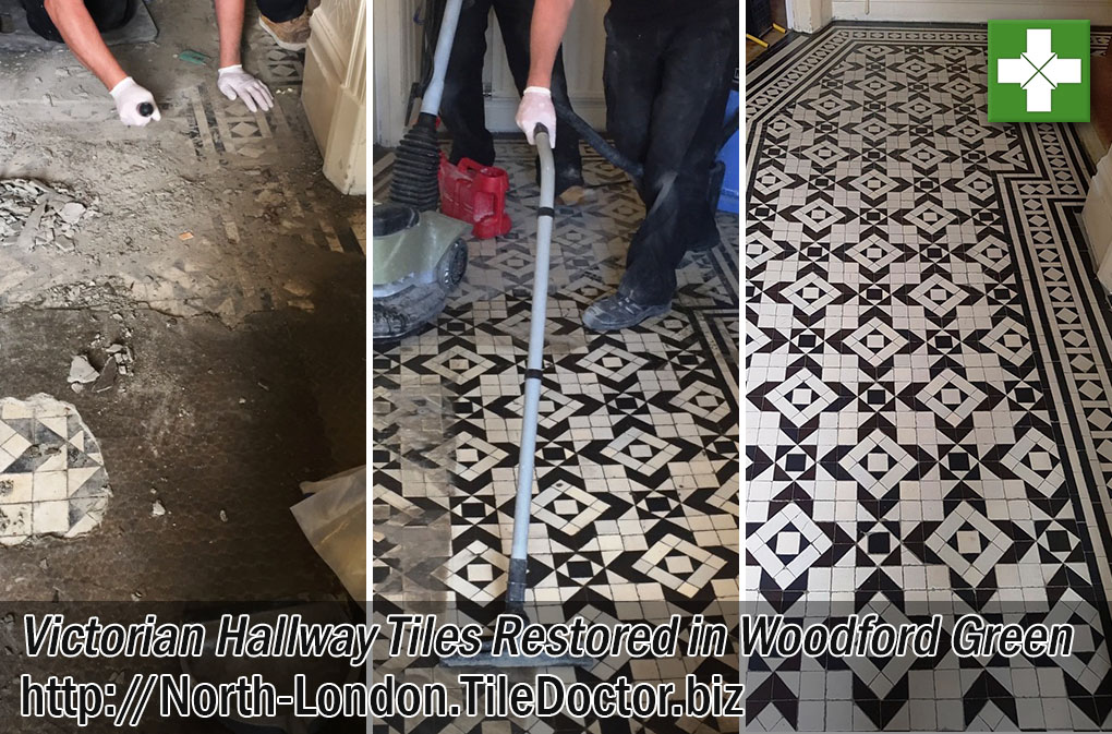 Victorian Tiled Hallway Floor Before and After Restoration in Woodford Green