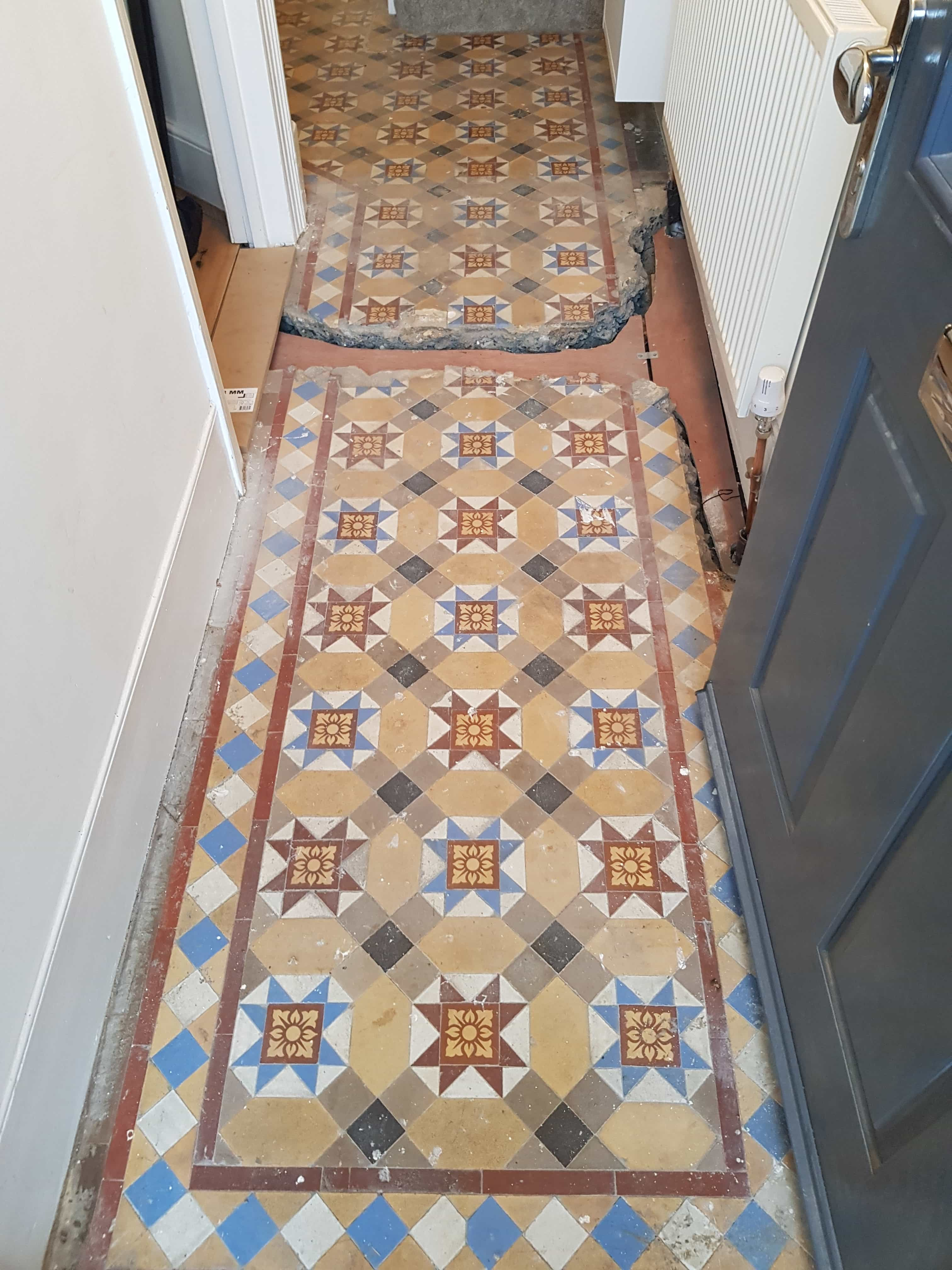 Victorian Tiled Hallway Before Cleaning Palmers Green