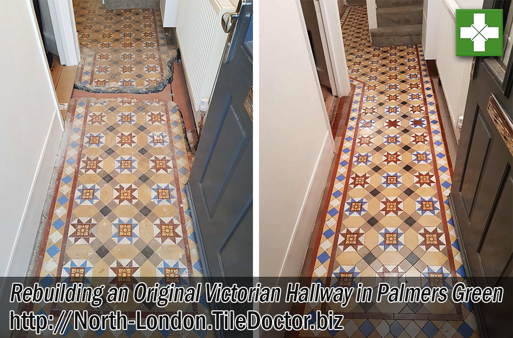 Victorian Tiled Hallway Floor Before and After Restoration Palmers Green