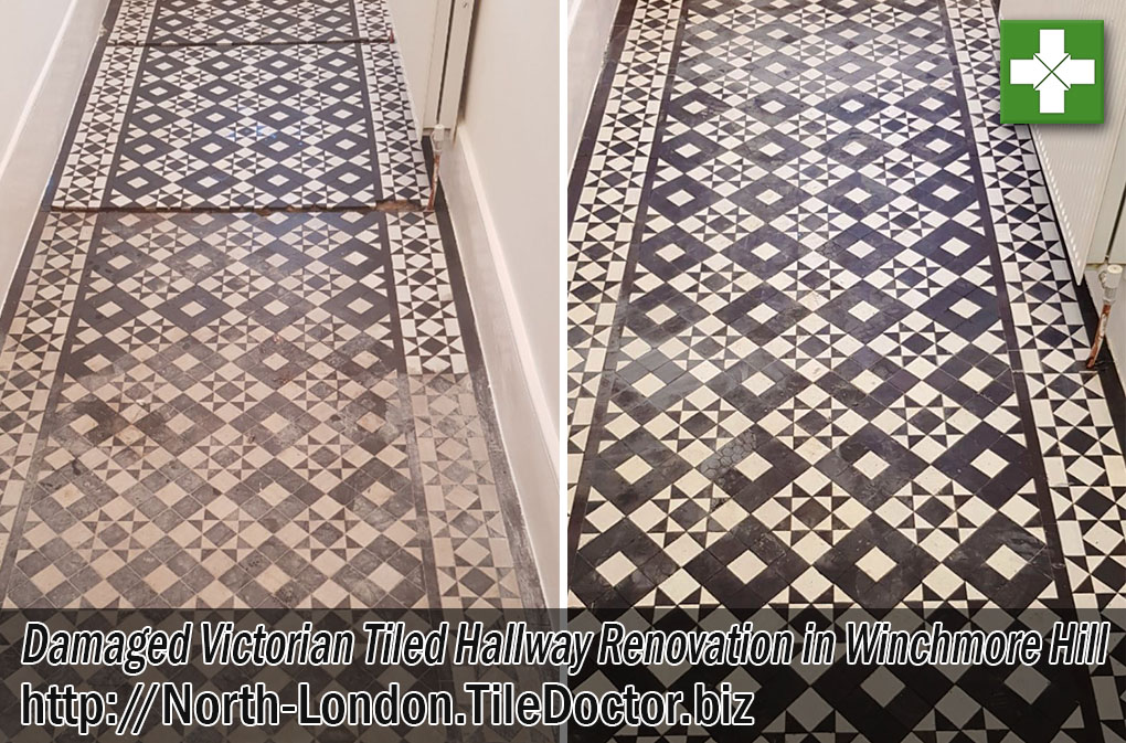 Damaged Victorian Tiled Hallway Floor Before and After Restoration Winchmore Hill London