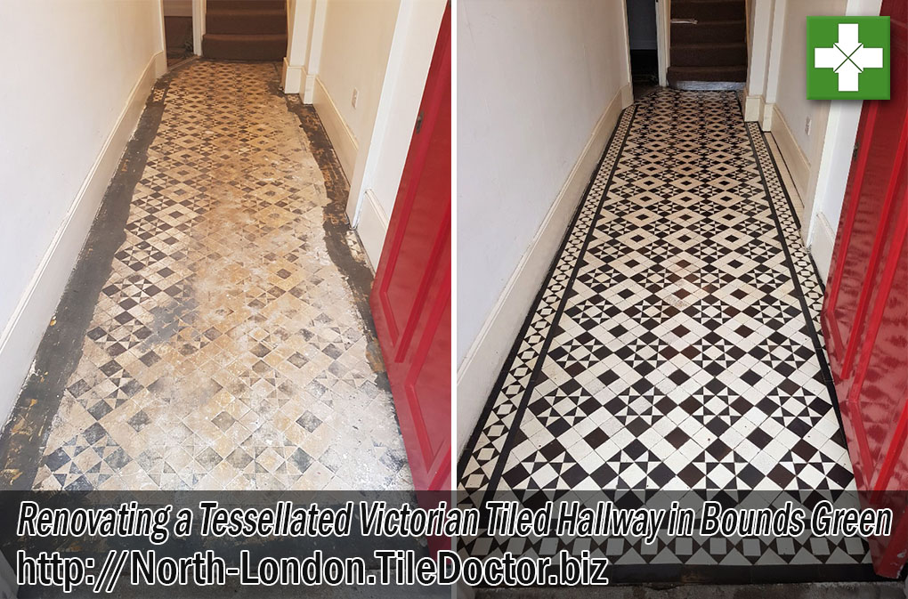 Tessellated-Victorian Tiled Hallway Before and After Restoration Bounds Green