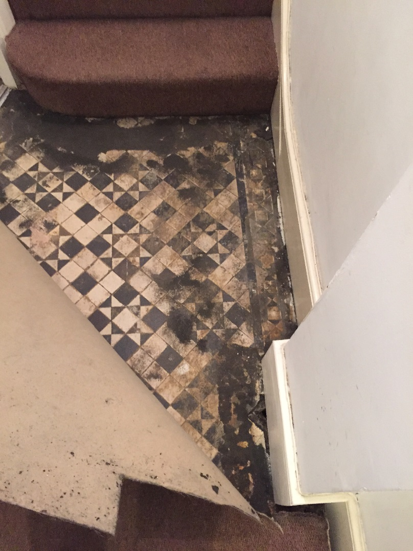Victorian Hallway Before Restoration and Repair Bounds Green Lifting Carpet