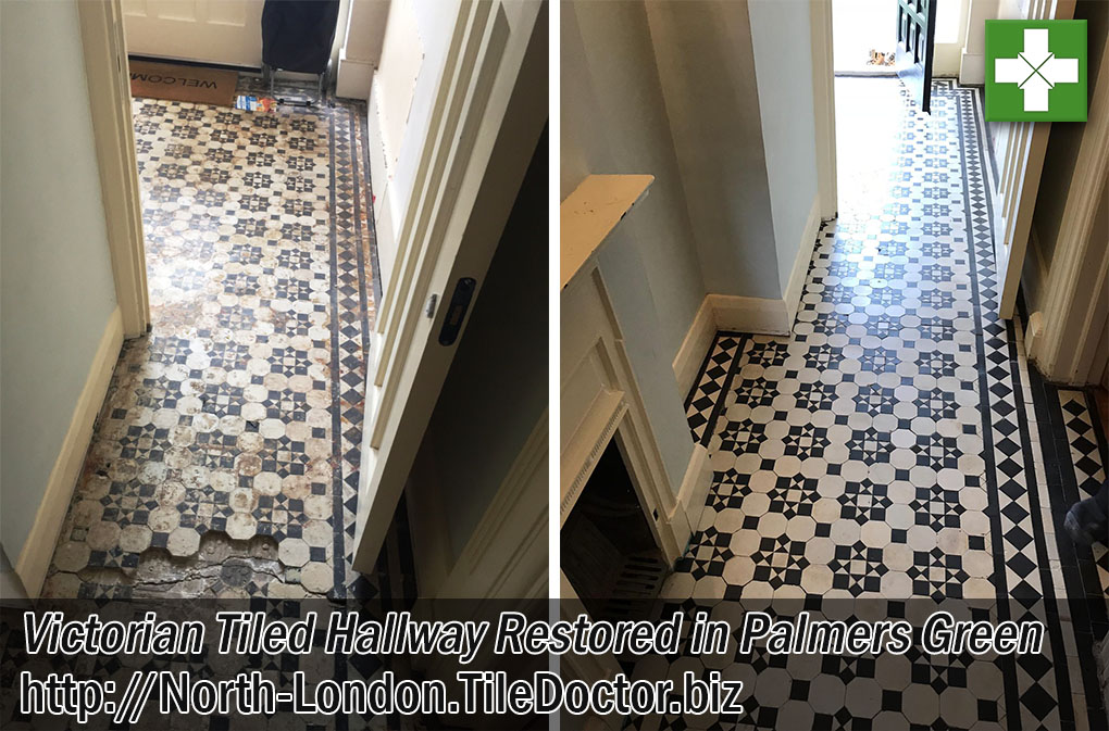 Victorian Tiled Hallway Before and After Restoration Palmers Green