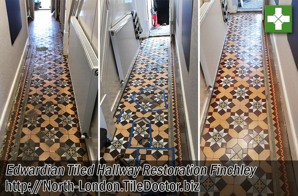 Edwardian Tiled Hallway Before After Deep Restoration Finchley