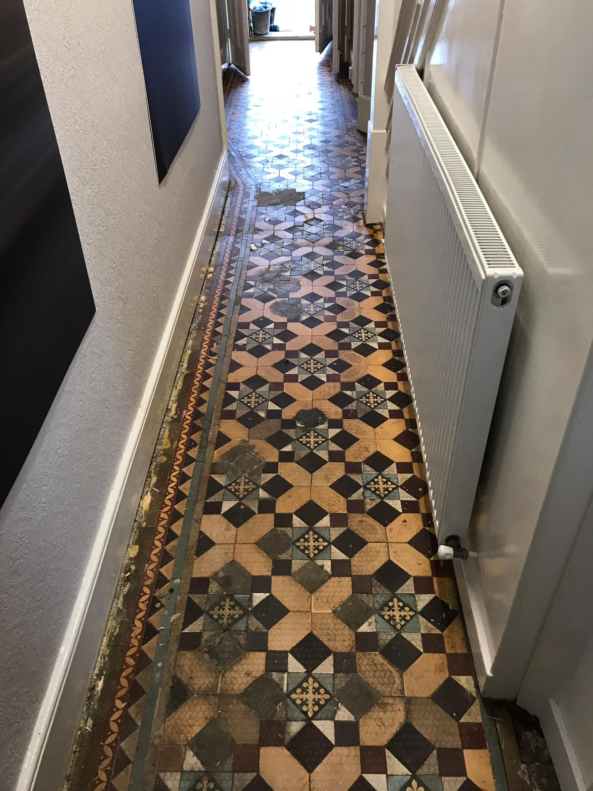 Edwardian Tiled Hallway Before Restoration Finchley