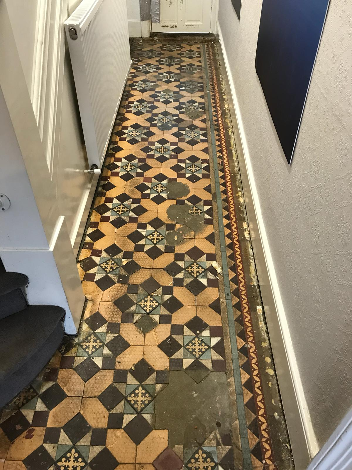 Edwardian Tiled Hallway During Restoration Finchley