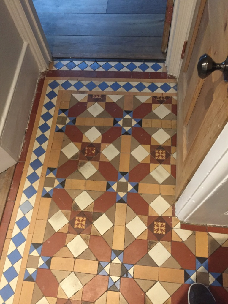 Victorian Hallway Floor Tile Before Restoration Camden