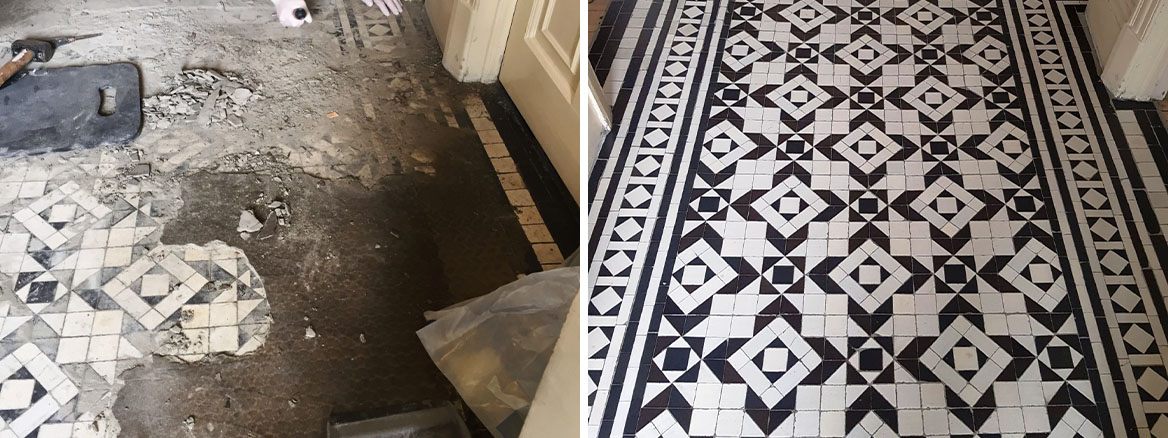 Victorian Tiled Hallway Hidden Under Carpet Fully Restored in Woodford Green