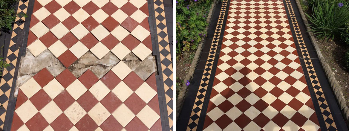 Edwardian Clay Tile Front Pathway in Barnet