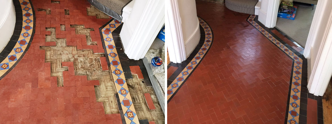 Edwardian Tiled Hallway Floor Restored in Crouch End, London