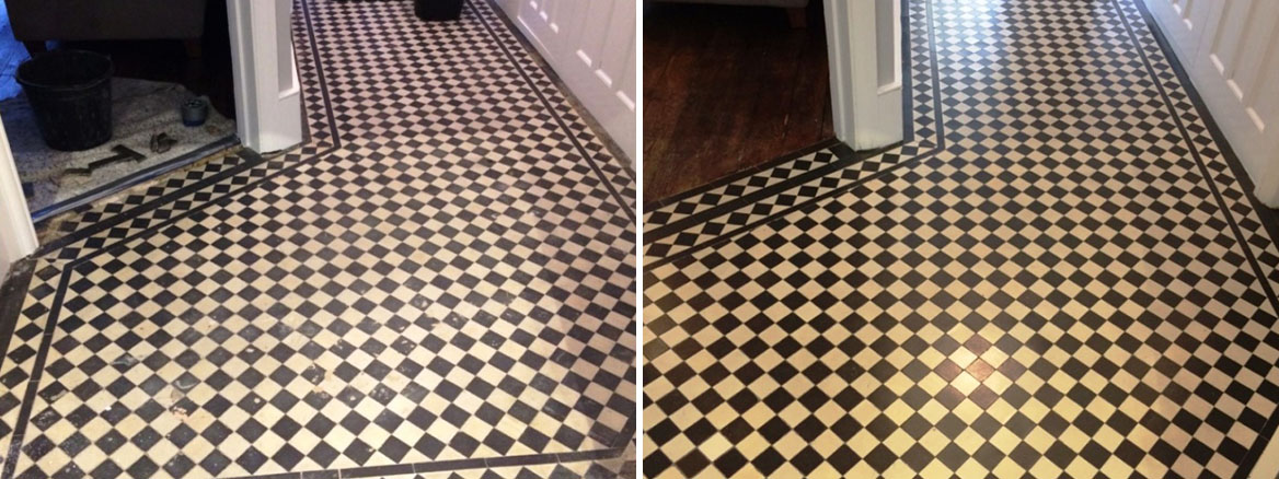Edwardian Style Hallway Floor Cleaned and Repaired in Islington, London