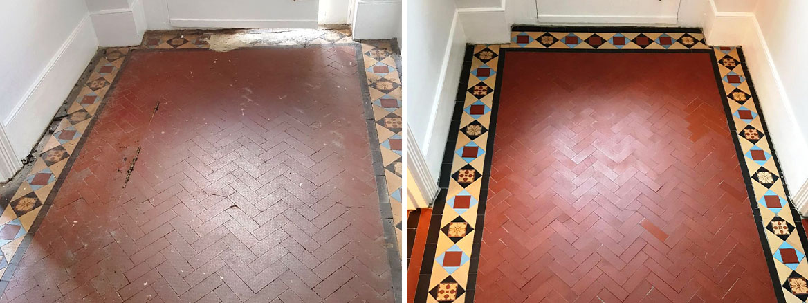 Edwardian Tiled Hallway Floor Restored in Muswell Hill, London