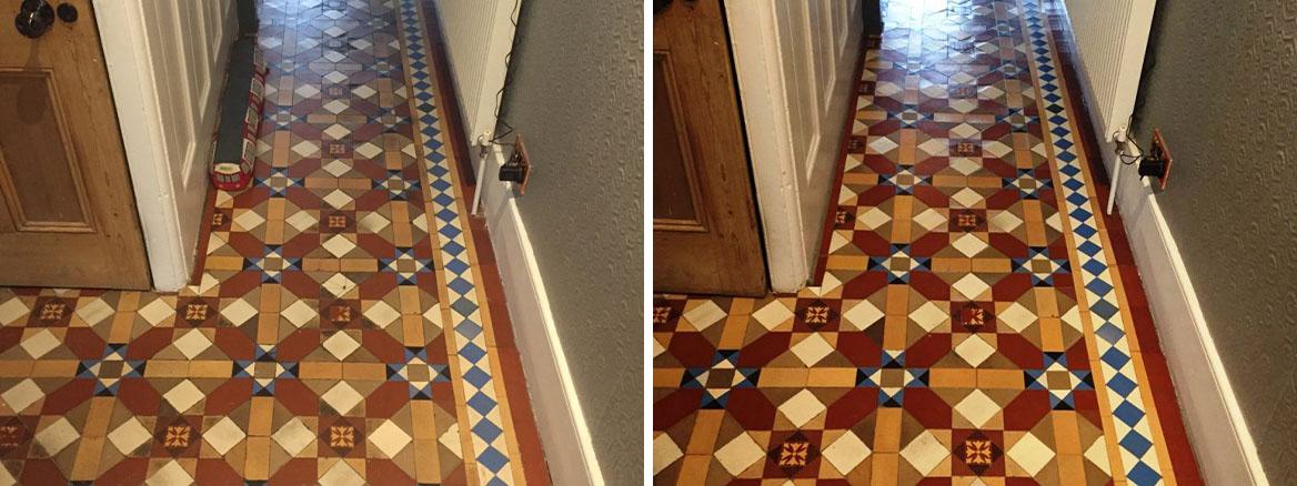 Victorian Hallway Floor Tile Before and After Restoration Camden