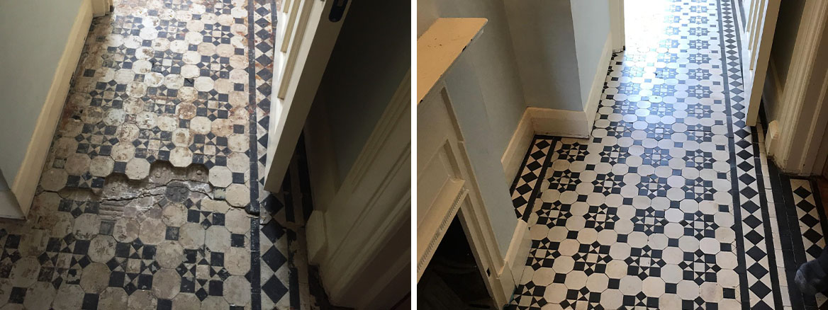 Geometric Victorian Tiled Hallway Repaired and Restored in Palmers Green