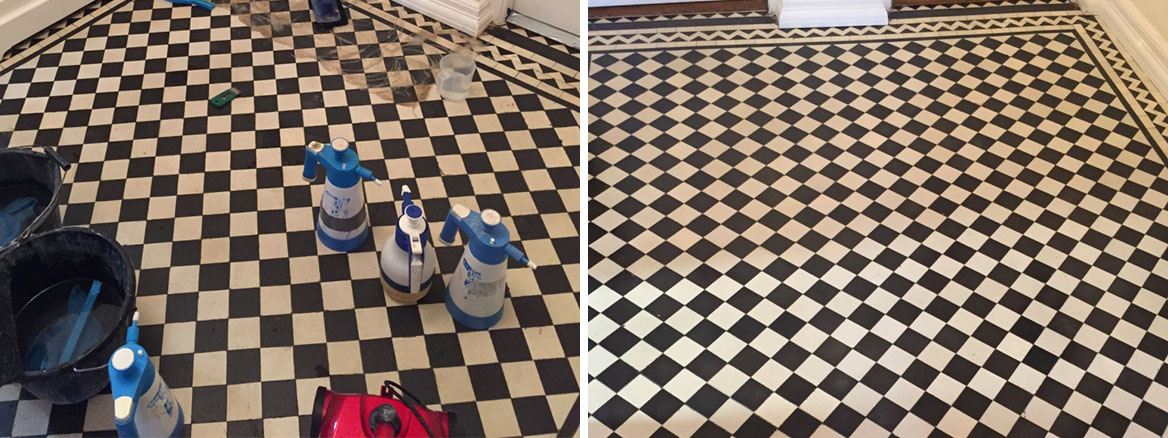 Victorian Tiled Hallway Restoration Before and After Cleaning Mill Hill