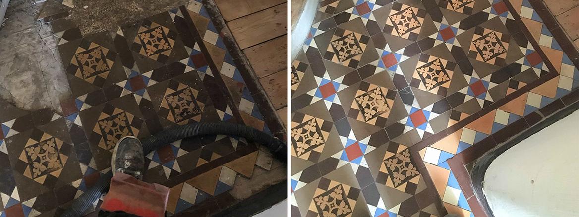 Victorian Tiled Hallway Floor Restored in Haringey