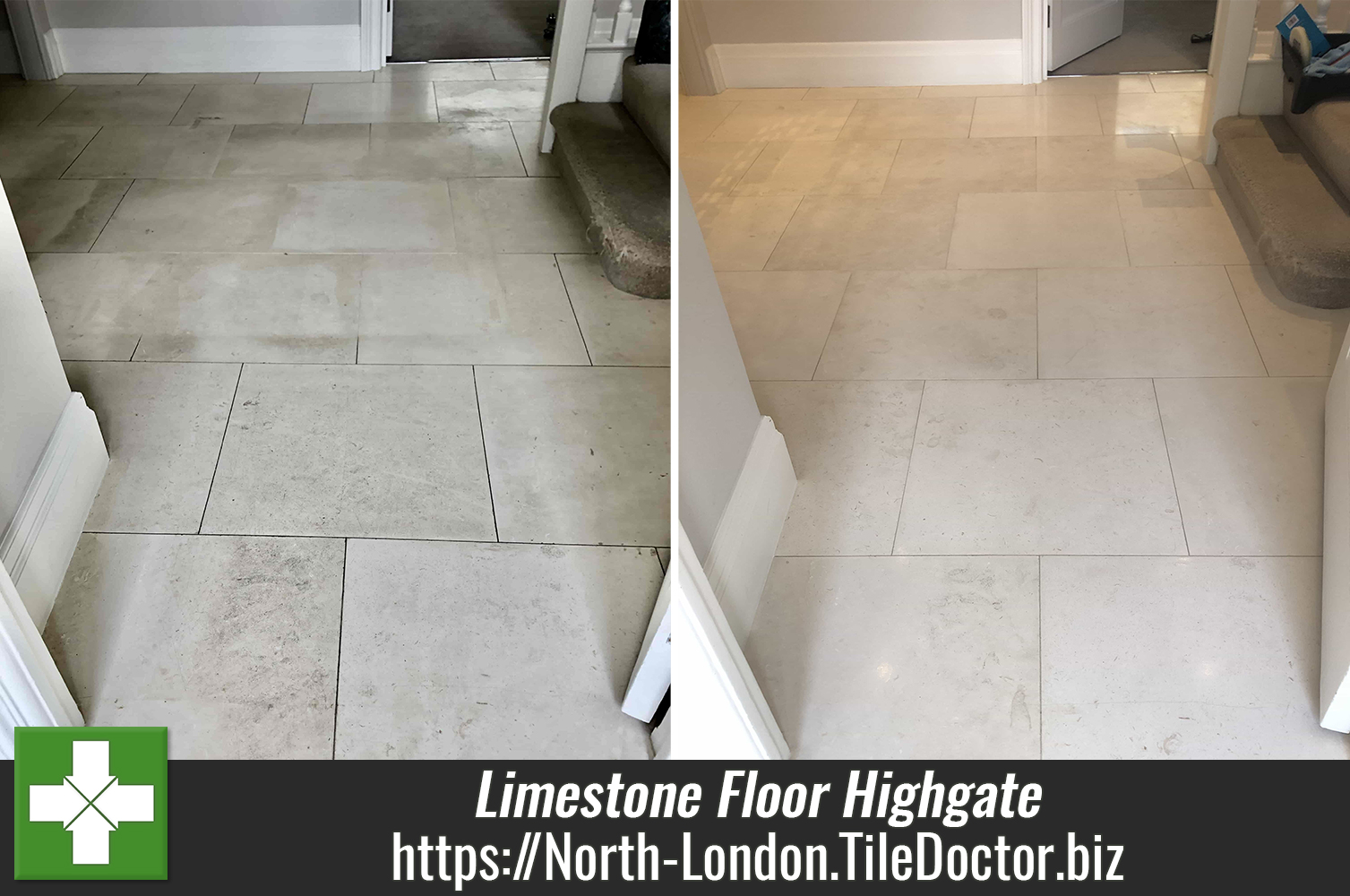 Grubby Honed Limestone Floor restored in Highgate