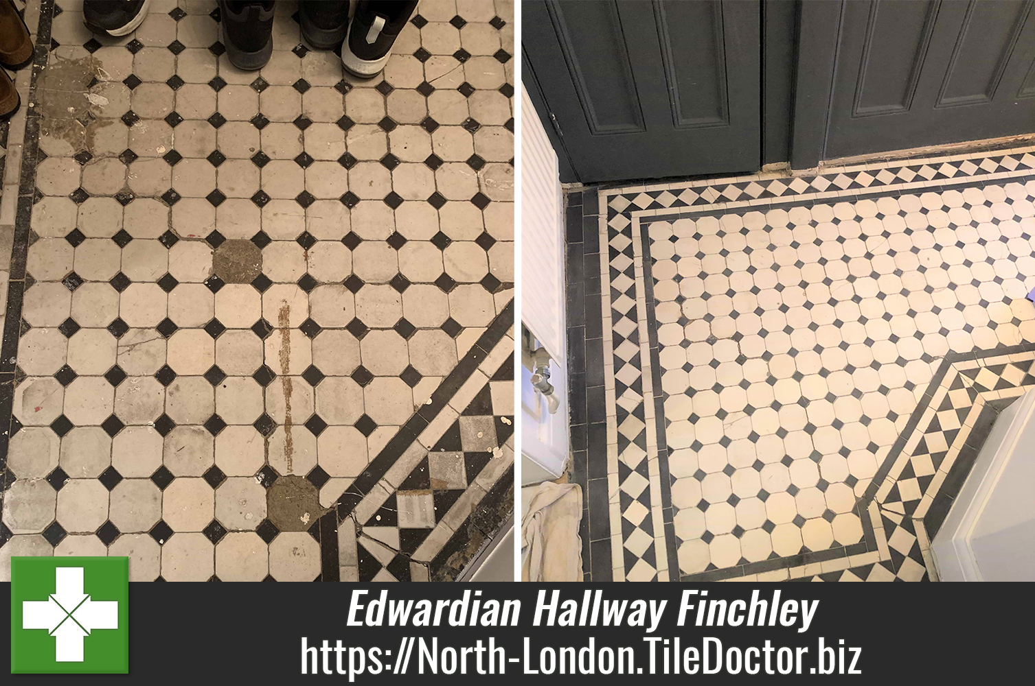 Edwardian Tiled Hallway Floor Restored in Finchley