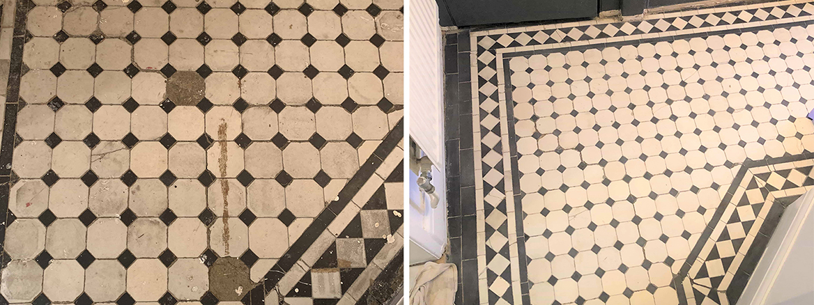 Edwardian Hallway Floor Tiles Repaired and Restored in Finchley
