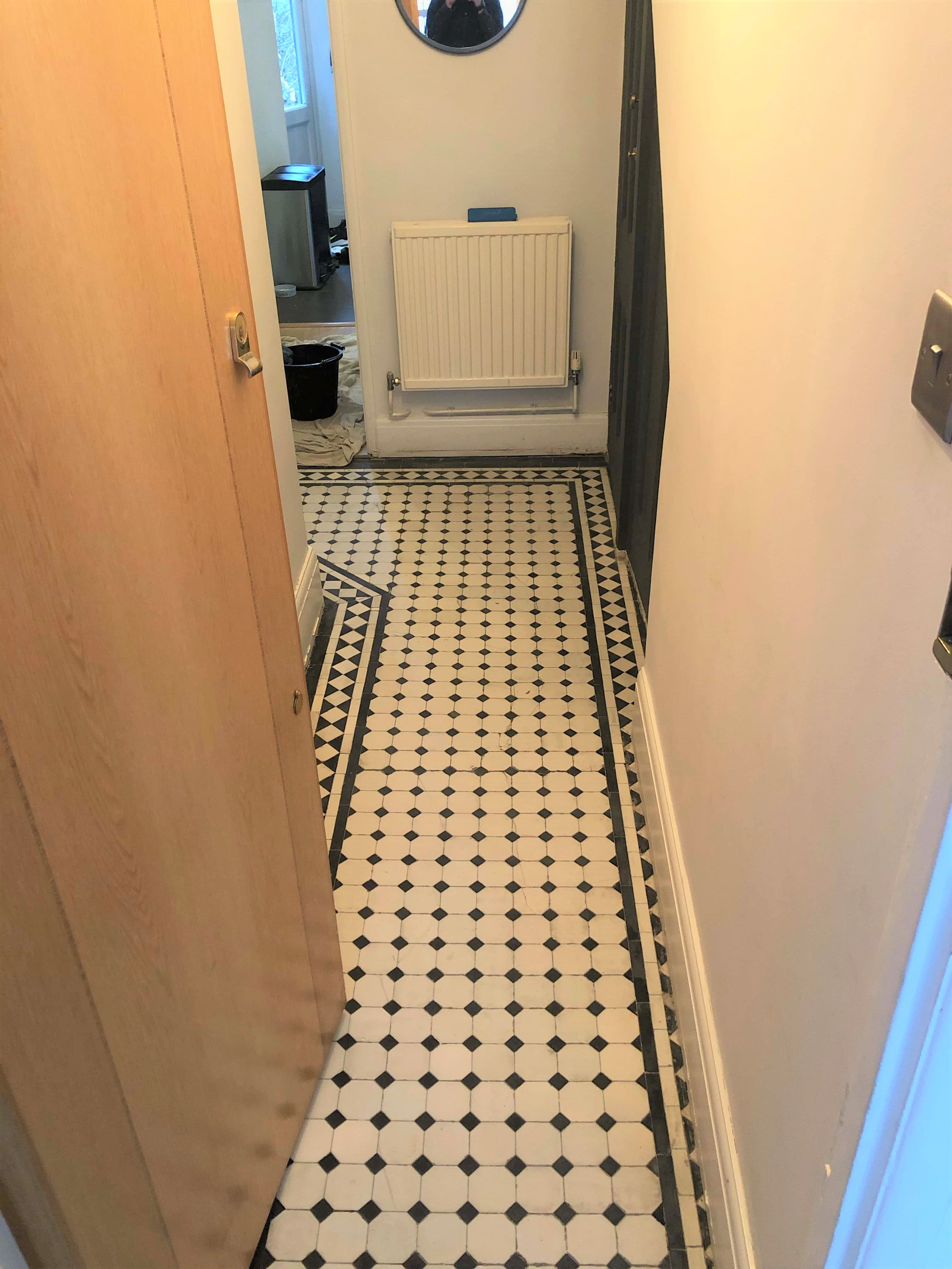 Edwardian Tiled Hallway Floor After Renovation Finchley