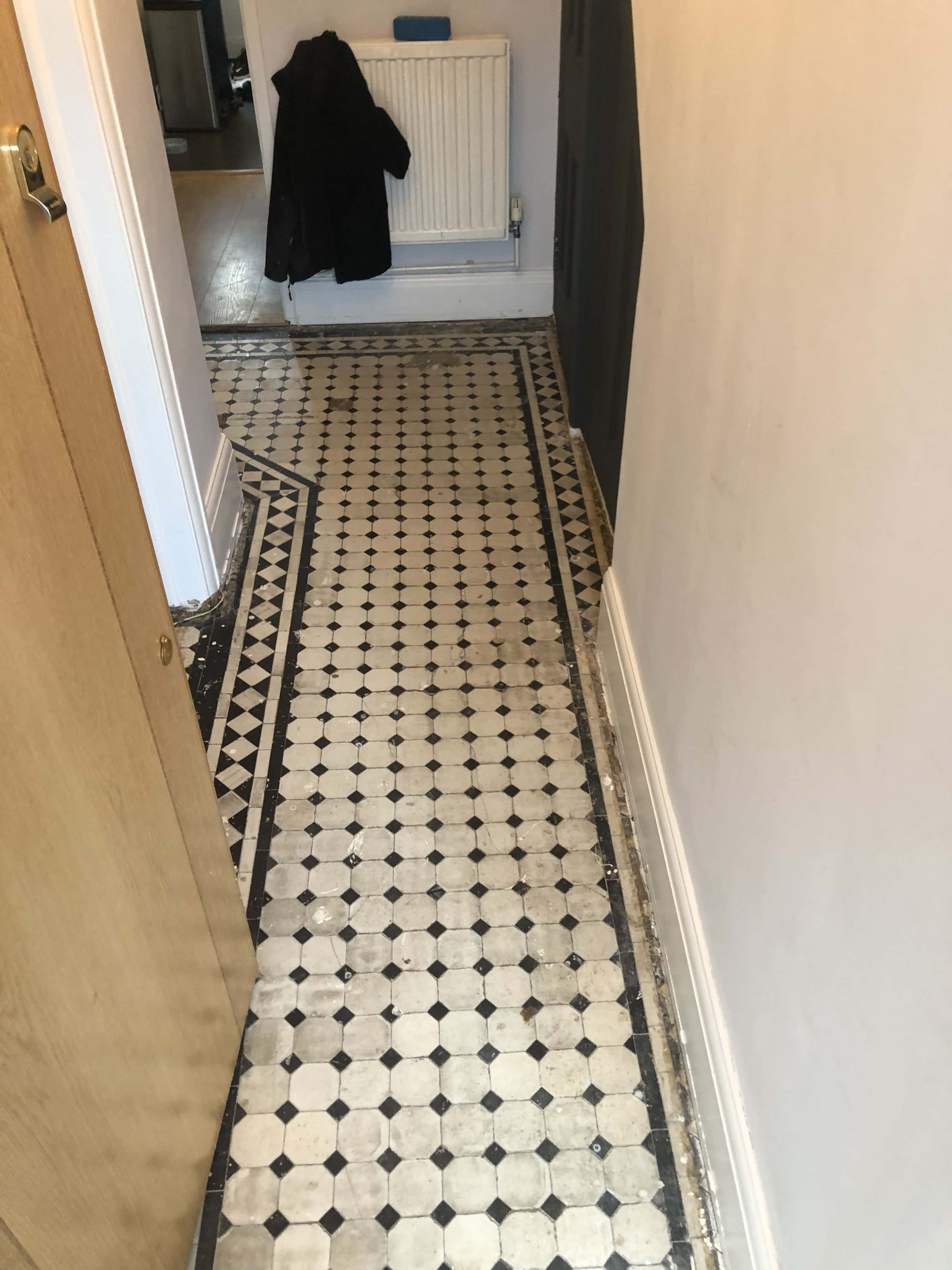 Edwardian Tiled Hallway Floor Before Renovation Finchley